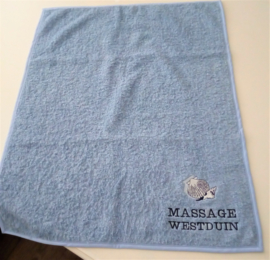 Handdoek 50 x 60 cm badstof oud blauw met schelpen en logo