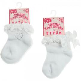 babysokjes meisjes wit strass hartje of met strikje roezel 0 - 6 mnd.
