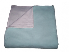 Wiegdeken 75 x 100 cm mint wafelstof en  wit fleece