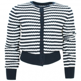 Donkerblauw/ off white vestje maat 98/104 Vinrose 'Cilla'