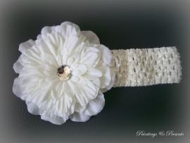 Gehaakt crème babyhaarbandje met bloem 12 cm
