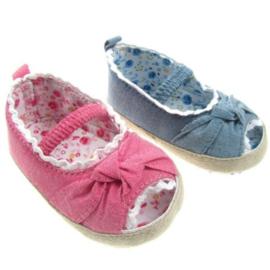 Babyschoentjes meisje denim roze/ denim blauw sandaaltje met open teentje