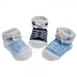 babysokjes stoere sneackersokjes blauw/licht blauw/donkerblauw 0 - 6 mnd.