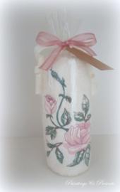 Geborduurd gastendoekje crème met roos roze (en gewenste tekst/naam)