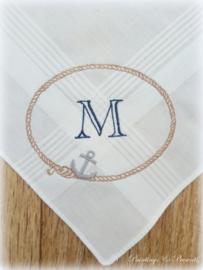 Geborduurde zakdoek wit met touw en anker met initialen of naam