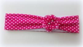 Babyhaarbandje fel roze/fuchsia 41 cm (vanaf 3 mnd) met witte stipjes en verwisselbare bloem strass