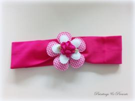 Babyhaarbandje fel roze/fuchsia 41 cm (vanaf 3 mnd) met rozet/ruitjes bloem