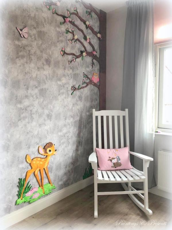 Baby/kinderkussentje licht roze canvas met hertje en konijntje