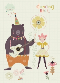 Bee Brown | Ansichtkaart Dancing Bear