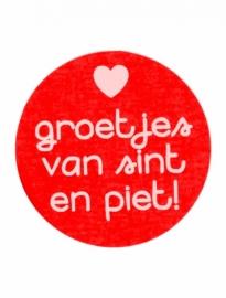 Stickers groetjes van sint en piet - rood