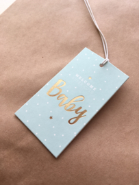 Gift Tag Welcome Baby - Mint