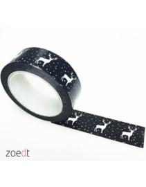 Masking Tape Zwart/wit Hertjes