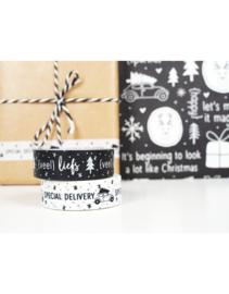 Masking tape kerst zwart met tekst Veel liefs
