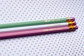 Pencil set gold foil