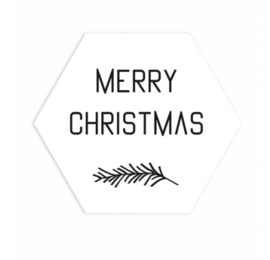 Sticker Hexagon - Merry Christmas White