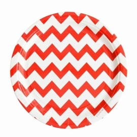 Paper Plates - Red Chevron