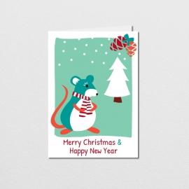 Wenskaart Christmas Mouse