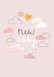 Postcard New Baby Aless - Pink