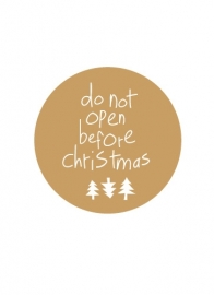 Stickers do not open before christmas - goud/wit