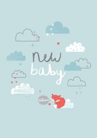 Postcard New Baby Aless - Blue