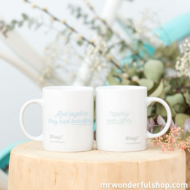 SET OF MUGS - AND TOGETHER THEY HAD BREAKFAST HAPPILY EVER AFTER