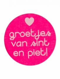 stickers groetjes van sint en piet - fluor roze