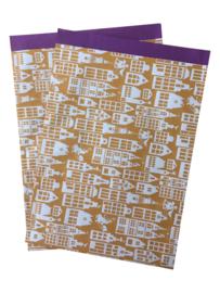 Cadeauzakje Sint Okergeel/paars 23x31,5cm