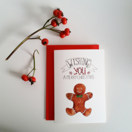 Kerstkaart Gingerbread - Wishing