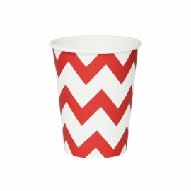 Paper Cups - Red Chevron