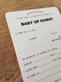 Invulkaarten BABY OP KOMST