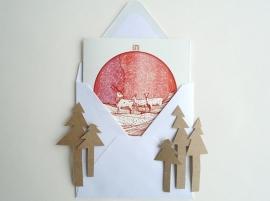 Christmas card Starry Sky and Deer
