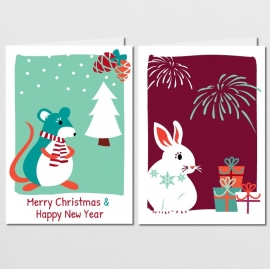 Kerstkaartenset Christmas Mouse & Newyears Bunny