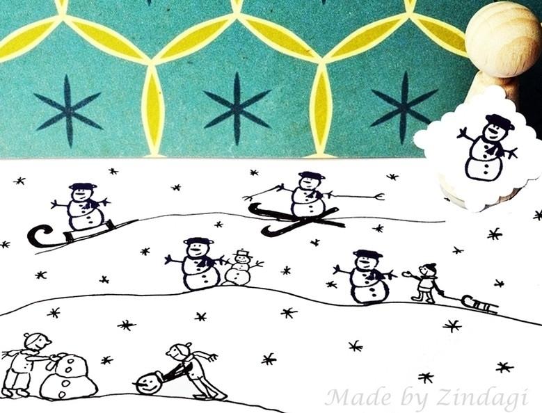 Mini stamp - Snowman