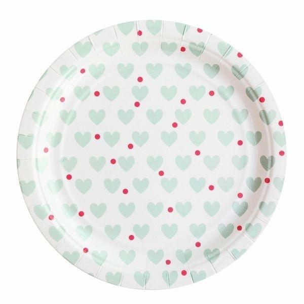 Paper Plates - Aqua Hearts