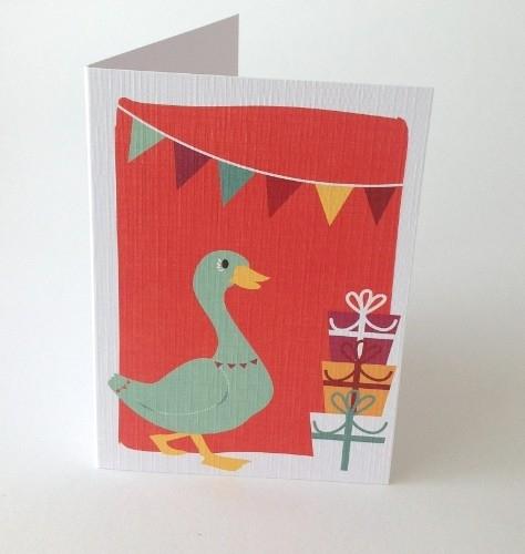Wenskaart Party Duck