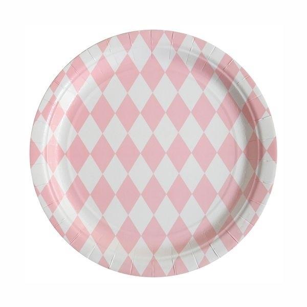 Papieren bordjes - roze diamond