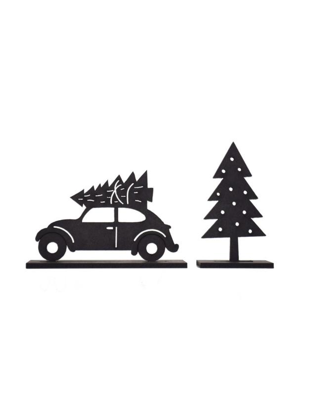 Houten kerst set bij grachtenpandjes sint en piet