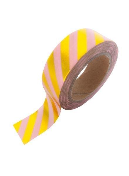 Washi Tape - Pink Gold Foil Stripe
