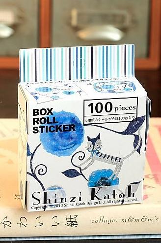 Shinzi Katoh stickers - blue cat