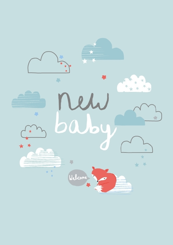 Postkaart New Baby Aless - Blauw