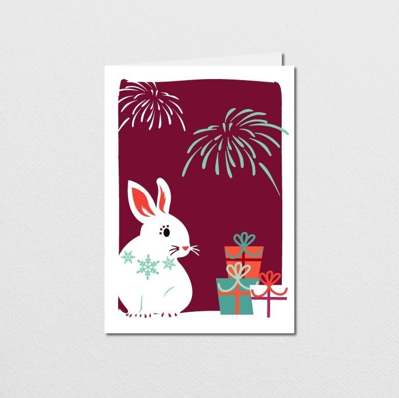 Wenskaart Newyears Bunny