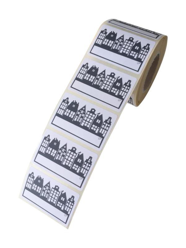 Stickers Sinterklaas Huisjes Blauw