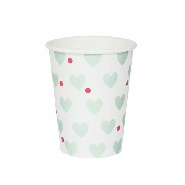 Paper Cups - Aqua Hearts