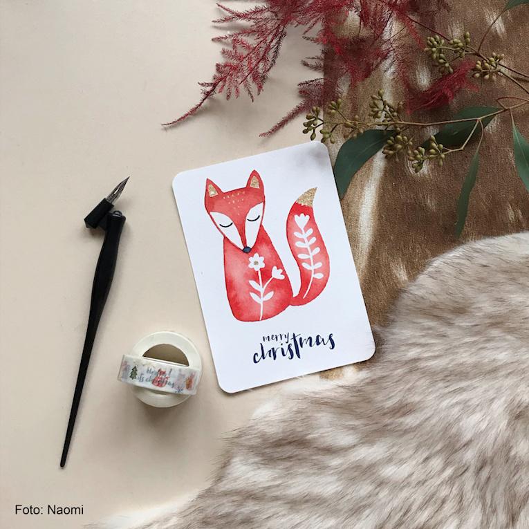 Kerstkaart Folk - Merry Christmas