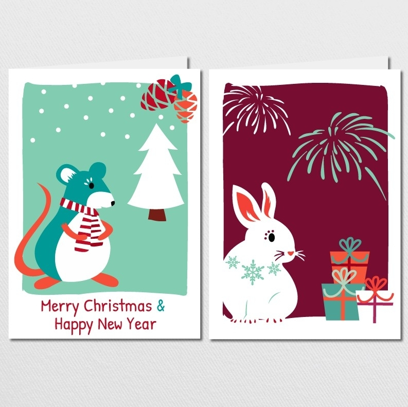 Christmas cards set - Christmas Mouse & Newyears Bunny