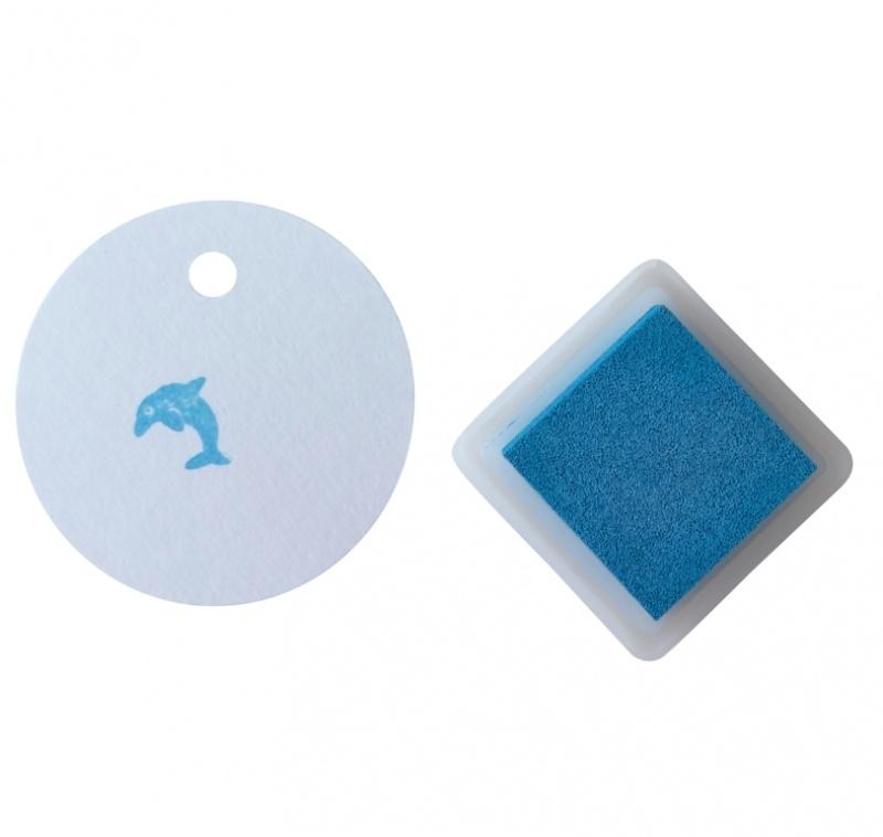 Stempelkussentje blauw - cyan