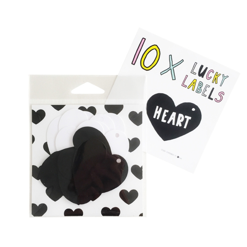 Lucky Labels Heart zwart/wit