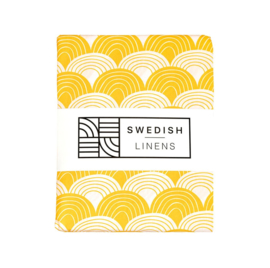 Swedish Linens RAINBOWS | Hoeslaken | 70x160cm | Mustard yellow