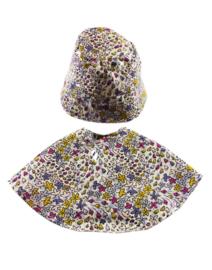 Minikane regencape en hoedje bloemen voor pop