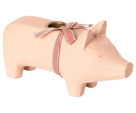 Maileg WOODEN PIG, MEDIUM - POWDER
